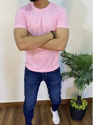 Basic Cotton Round Neck pink Tee