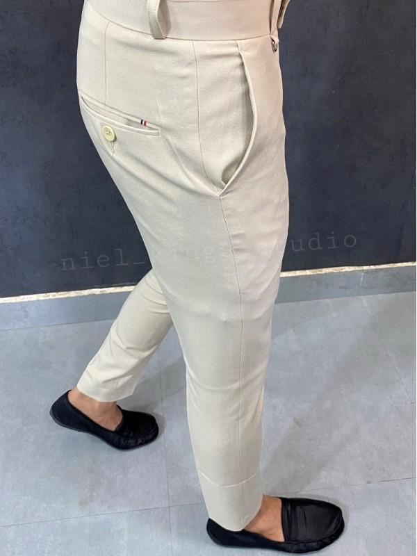 Ankle Formal Cream Trouser