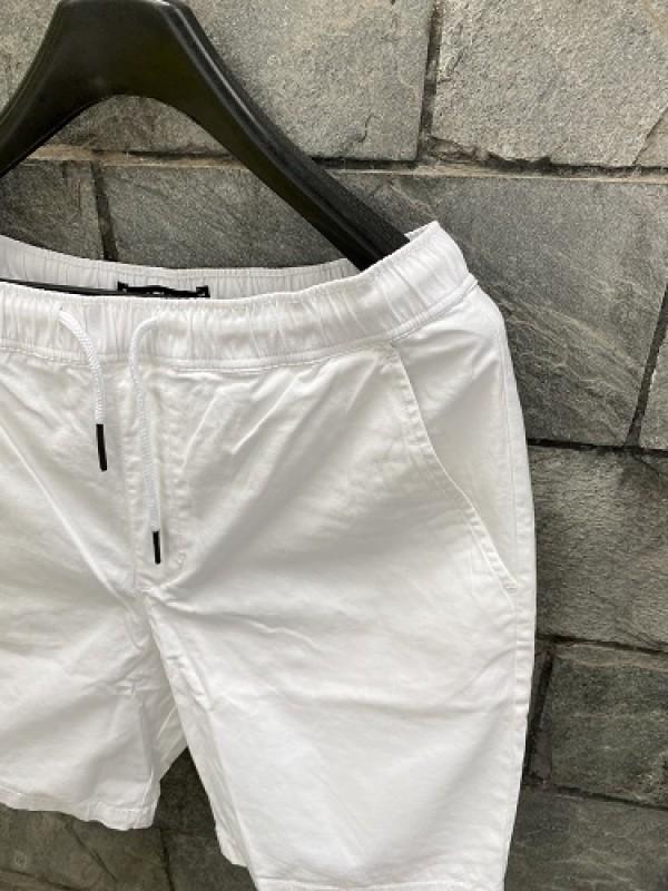 Elastic Waist Cotton White Short