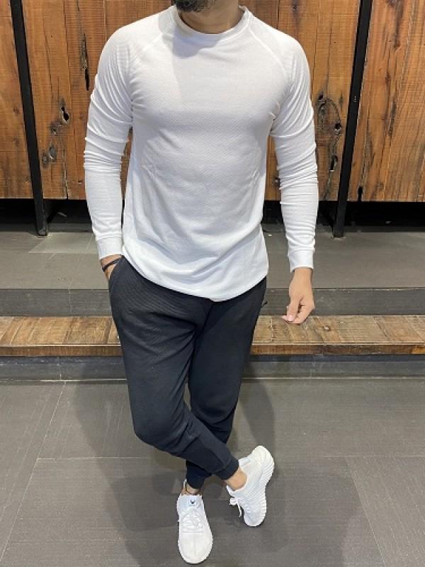 Raglan Style Fullsleeve White Popcorn Tshirt